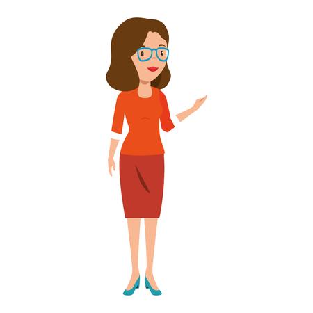 progettazione dell'illustrazione di vettore del carattere di avatar femminile della bella insegnante Vettoriali
