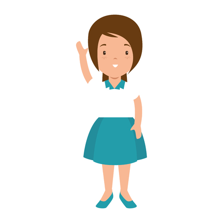 little girl student with uniform character vector illustration design Ilustrace