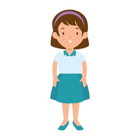 little girl student with uniform character vector illustration design Illustration