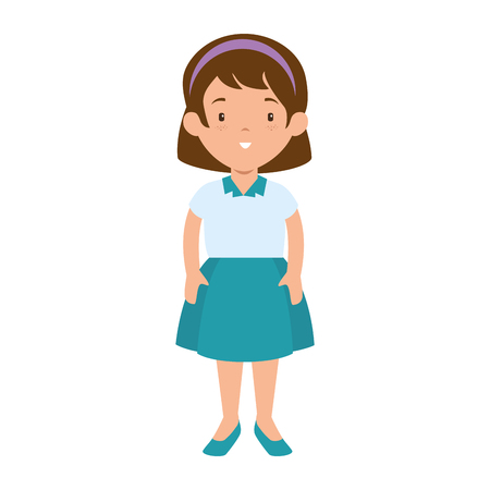 little girl student with uniform character vector illustration design Illustration