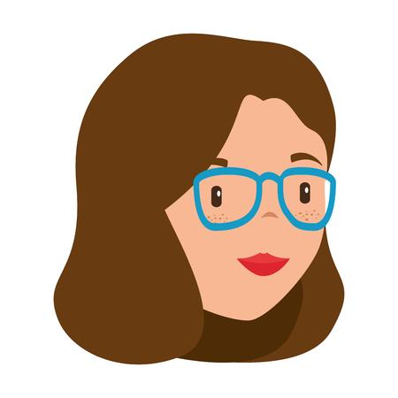 beautiful teacher female head avatar character vector illustration design