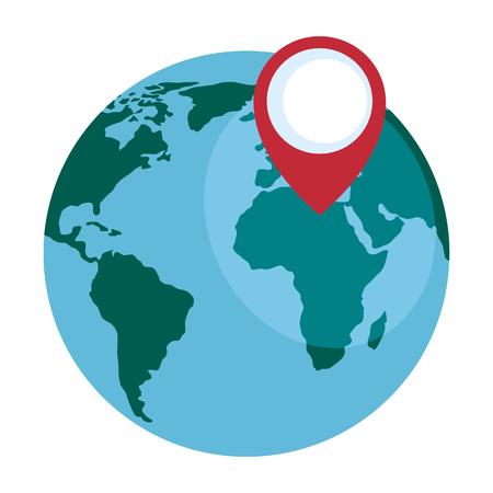 Wereld planeet aarde met pin aanwijzer vector illustratie ontwerp Stockfoto - 89816284