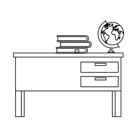 teacher desk with books and planet vector illustration design Illustration