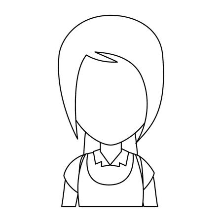 균일 한 문자 벡터 일러스트 디자인을 가진 작은 소녀 학생