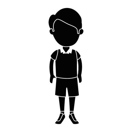 균일 한 문자 벡터 일러스트 디자인을 가진 작은 소년 학생