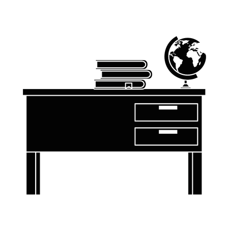 teacher desk with books and planet vector illustration design 向量圖像
