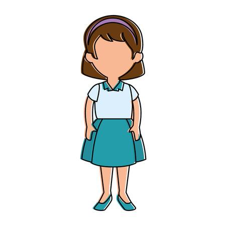 little girl student with uniform character vector illustration design Illusztráció