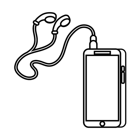 phone and cable with plug and earphone sound gadget vector illustration