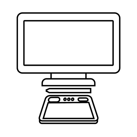 graphic tablet computer gadget designer tool vector illustration Illusztráció