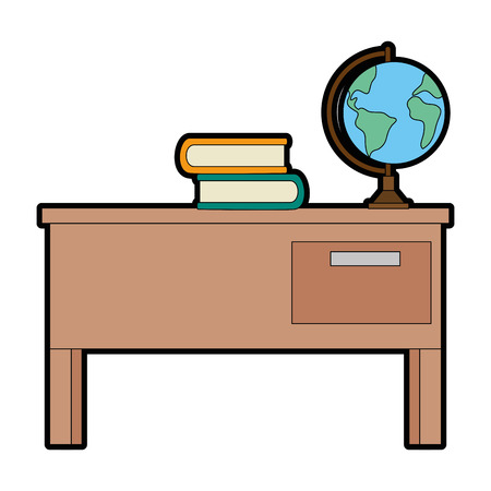 Teacher desk with books and planet vector illustration design