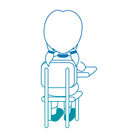 Little student in school chair vector illustration design