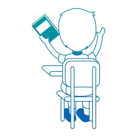 working on school project: little student in school chair vector illustration design Illustration