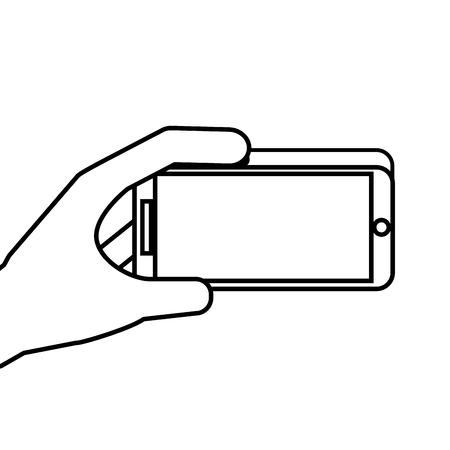 hand holding mobile phone gadget digital vector illustration