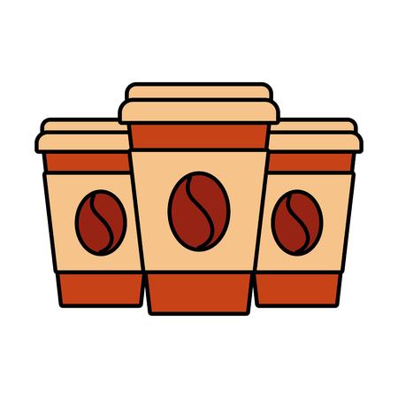 set of three paper coffee cup beverage refreshment vector illustration 版權商用圖片 - 89854643