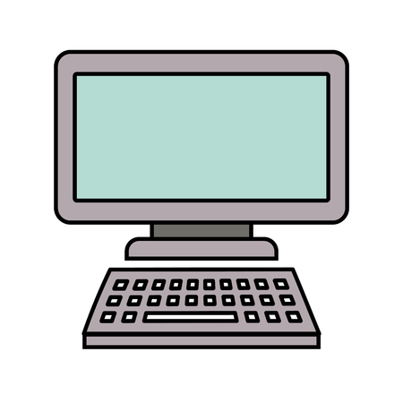computer monitor with keyboard technology gadget template vector illustration Stock Vector - 89854652