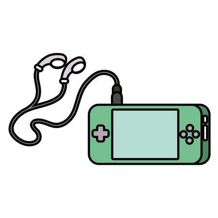 portable video game console with earphones for fun gadget vector illustration