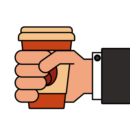 Hand holding takeaway coffee cup. Banco de Imagens - 89841187