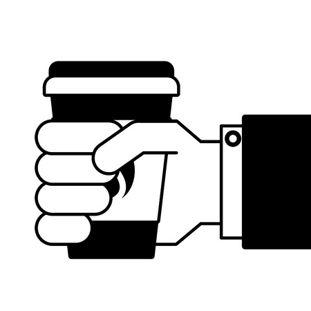 Hand holding takeaway coffee.