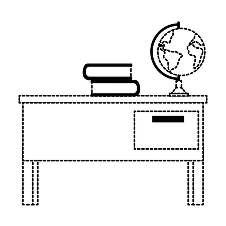 teacher desk with books and planet vector illustration design Illustration