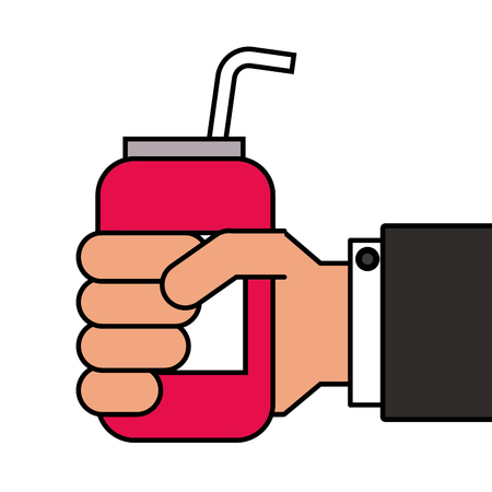 음료 에너지를 들고 손을 스트로 벡터 일러스트 레이션