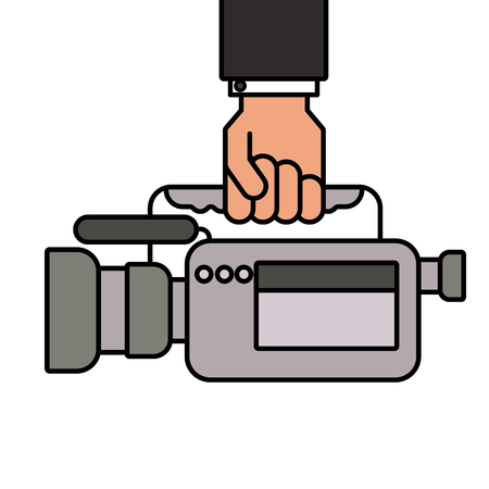 hand holding camcorder film video equipment microphone vector illustration Illustration