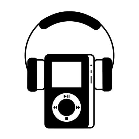 マルチ メディア mp3 プレーヤーとヘッドフォンの表示ボタンのベクトル図  イラスト・ベクター素材