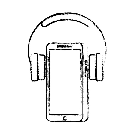 mobile phone and headphones gadget technology vector illustration 版權商用圖片 - 89851751