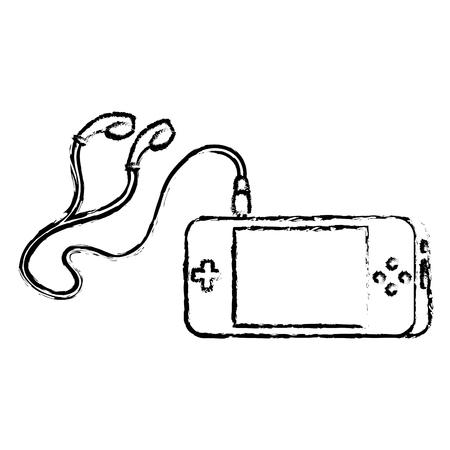 楽しみのためのイヤホンでポータブル ビデオ ゲーム コンソール ガジェット ベクトル図