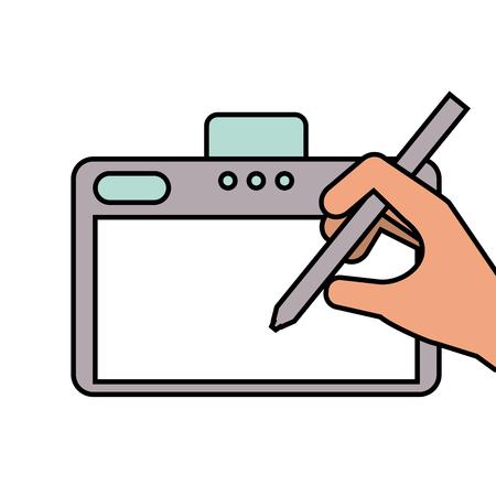 手デザイナー タブレット グラフィックとペンのデジタル ベクトル図  イラスト・ベクター素材