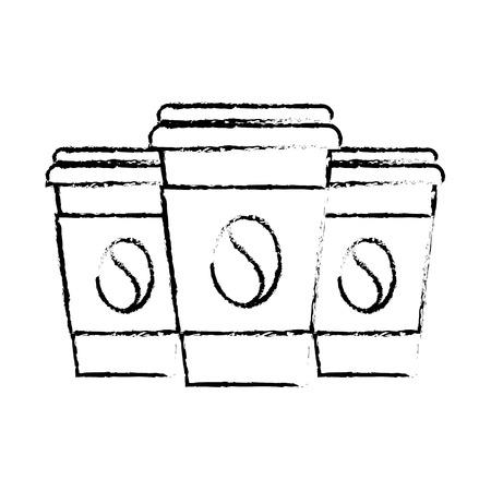 set van drie papieren koffie beker drankje verfrissing vectorillustratie