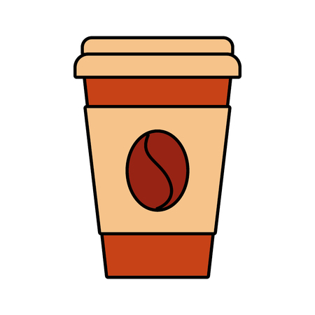 paper coffee cup bean fresh beverage vector illustration Illustration