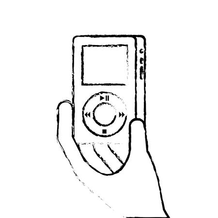 hand holding mp player gadget display modern technology vector illustration Ilustração