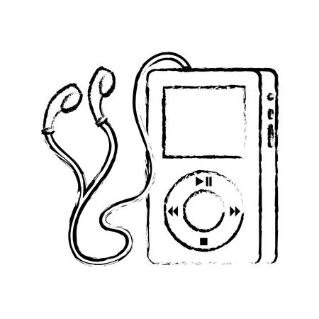 portable music device player earphones gadget vector illustration Çizim