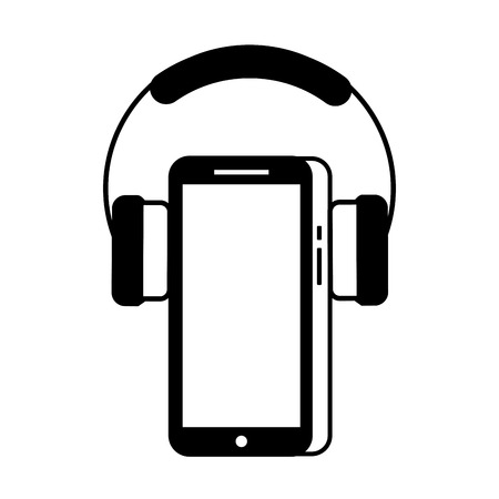 mobile phone and headphones gadget technology vector illustration