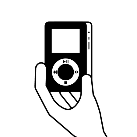 hand holding mp3 player gadget display modern technology vector illustration Illustration