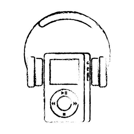 マルチ メディア mp3 プレーヤーとヘッドフォンの表示ボタンのベクトル図 写真素材 - 89847435