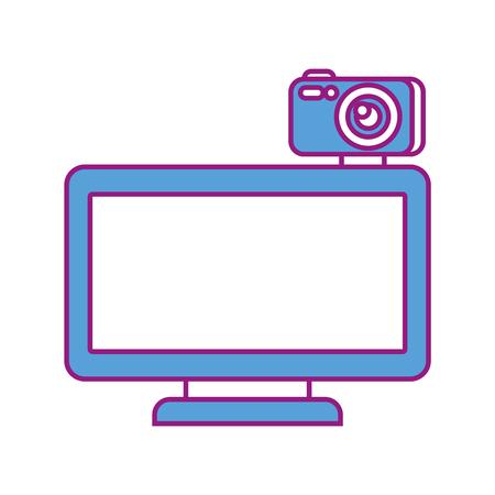 computer monitor with camera web gadget vector illustration Illustration