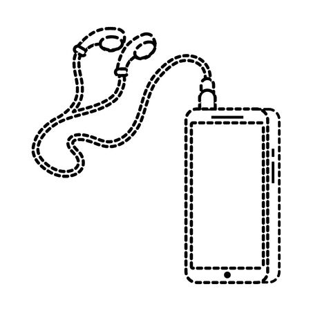 Cellphone with attached earphones in isolated background Ilustrace