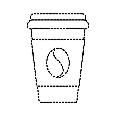 papier koffie kopje boon vers drank vectorillustratie Stock Illustratie