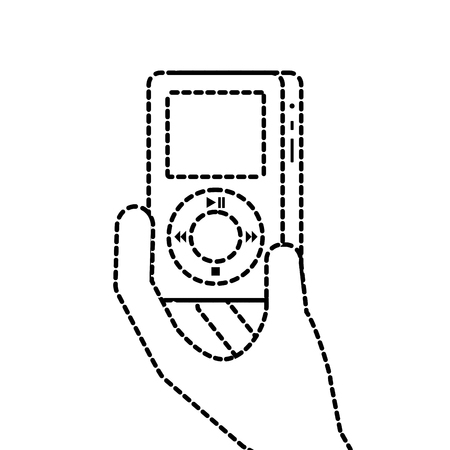 hand holding mp3 player gadget display modern technology vector illustration Imagens - 89850236