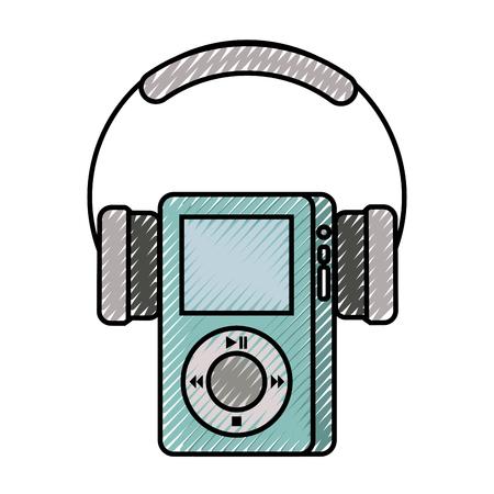multimedia mp3-speler en hoofdtelefoon weergave knop vector illustratie