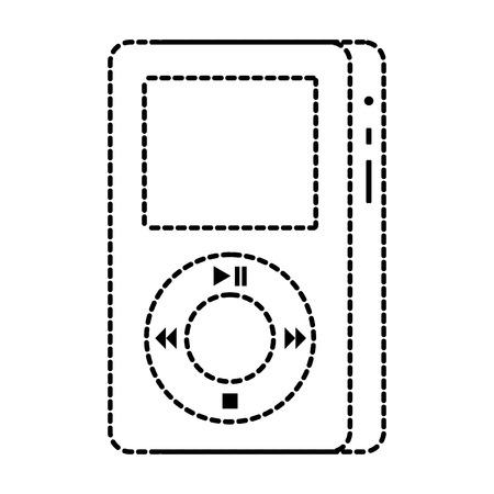 mp3 spelerapparaat om aan muziek vectorillustratie te luisteren Stock Illustratie