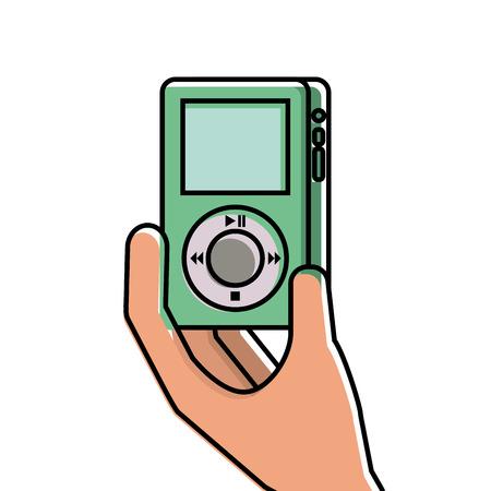 hand holding mp3 player gadget display modern technology vector illustration Ilustração