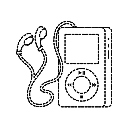 휴대용 음악 장치 플레이어 이어폰 가제트 벡터 일러스트 레이션