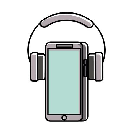 mobiele telefoon en hoofdtelefoon gadget technologie vectorillustratie