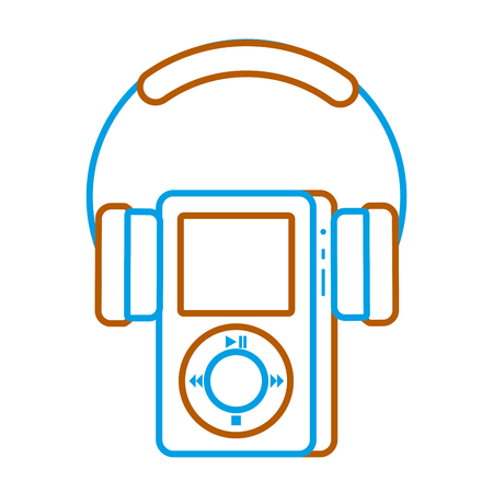 music player and headphones display button vector illustration
