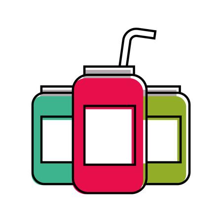 밀 짚 벡터 일러스트와 함께 에너지 음료 캔 음료 일러스트