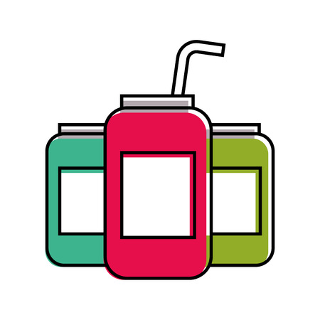 beverages in energy drink cans with straw vector illustration Ilustracja