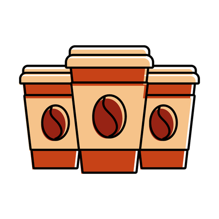 set of three paper coffee cup beverage refreshment vector illustration
