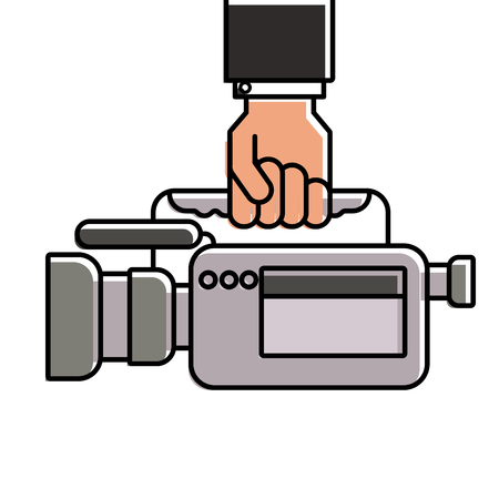 hand holding camcorder film video equipment microphone vector illustration Çizim